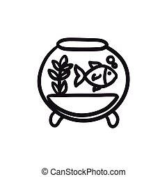 Fish in aquarium sketch icon. - Fish in aquarium vector...