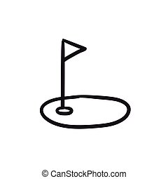 Golf hole with flag sketch icon. - Golf hole with flag...