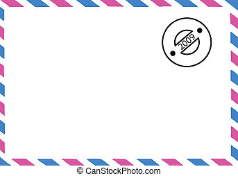 vector drawing of the old postal envelope
