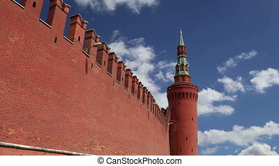 Kremlin Wall that surrounds the Moscow Kremlin, Russia