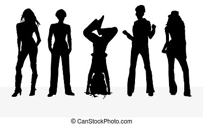 silhouettes girl on white background