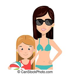 half body cartoon blond girl with woman in bikini vector...
