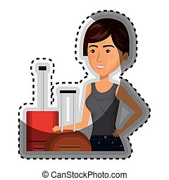 sticker half body cartoon short hair woman with pair travel briefcases