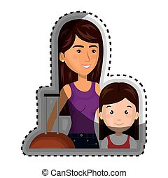 sticker half body cartoon woman with travel briefcase and girl