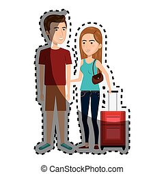 sticker cartoon couple with casual clothes and luggage
