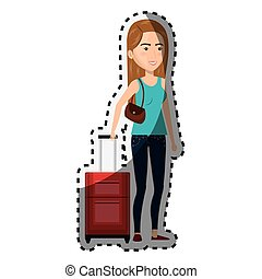 sticker cartoon woman with travel briefcase and purse