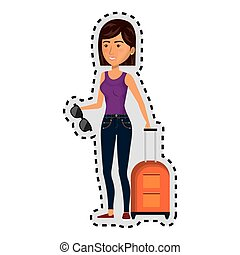 sticker cartoon short hair woman with travel briefcase and glasses