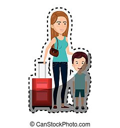 sticker cartoon woman with travel briefcase and boy