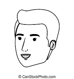 contour side view man face vector illustration