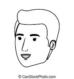 contour side view man face vector illustration
