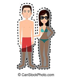 sticker cartoon couple with summer swimsuit and glasses...