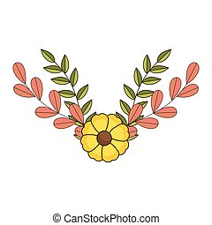 crown of floral branch and leaves with flowers