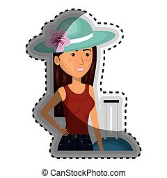 sticker half body cartoon woman with travel briefcase and hat lace