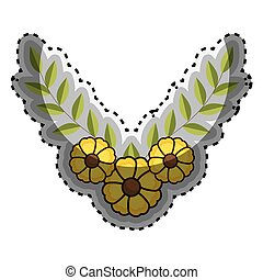 sticker crown of leaves with yellow flowers
