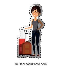 sticker cartoon short hair woman with pair travel briefcases