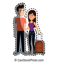 sticker cartoon couple with woman brunette and man with travel luggage