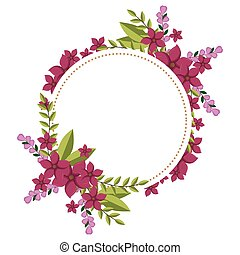circular frame ornament with fushia floral bouquet and...