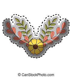 sticker crown of floral branch and leaves with flowers
