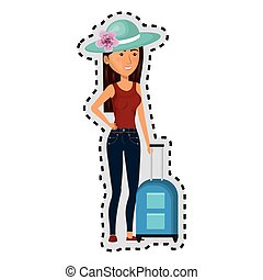 sticker cartoon brunette woman with travel briefcases and hat lace