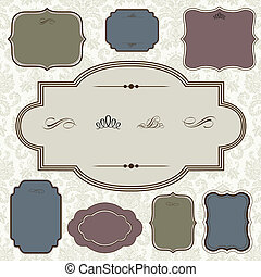 Vector Ornate Frame Set and Pattern