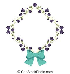 diamond frame with creepers and violet flowers and blue ribbon