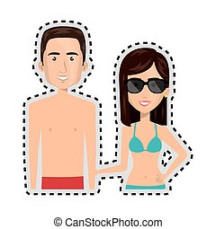 sticker half body cartoon couple with summer swimsuit vector...