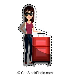 sticker cartoon fashion woman with travel briefcases and glasses