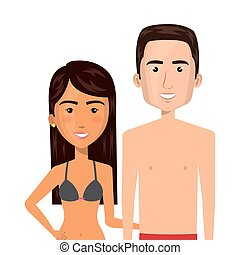 half body cartoon brunette woman and man caucasian with...