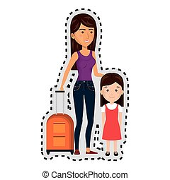 sticker cartoon woman with travel briefcase and girl