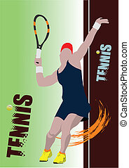 Poster tennis player. Colored Vect