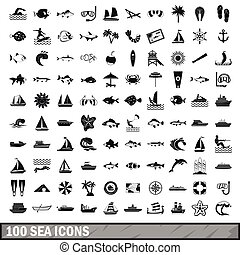 100 sea icons set in simple style for any design vector...