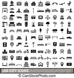 100 city icons set in simple style