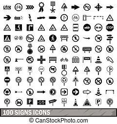 100 road signs icons set in simple style