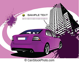 Purple business background with car image. Vector...