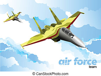 Air force team. Vector illustration - Air force team. Vector...