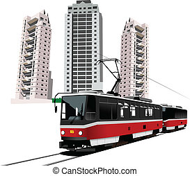 Dormitory and tram. Vector illustration