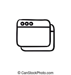 Opened browser windows sketch icon.