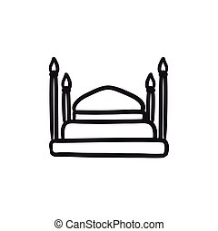 Taj Mahal sketch icon. - Taj Mahal vector sketch icon...