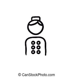 Bellboy sketch icon. - Bellboy vector sketch icon isolated...