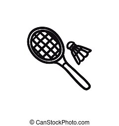 Shuttlecock and badminton racket sketch icon. - Shuttlecock...