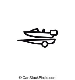 Boat on trailer for transportation sketch icon. - Boat on...