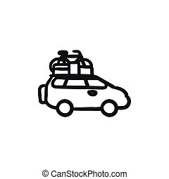 Car with bicycle mounted to the roof sketch icon. - Car with...