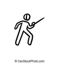 Fencing sketch icon. - Fencing vector sketch icon isolated...