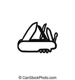 Multipurpose knife sketch icon. - Multipurpose knife vector...