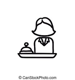 Female receptionist sketch icon. - Female receptionist...
