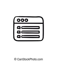 Browser window with folder contents sketch icon. - Browser...