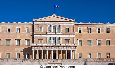Amazing view of The Greek parliament in Athens, Attica,...