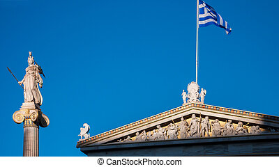 Sunset view of Athena statue in front of Academy of Athens,...