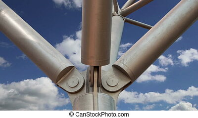 Metal column closeup on a background of sky