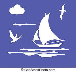 vettore, illustrazione, Barca vela, oceano